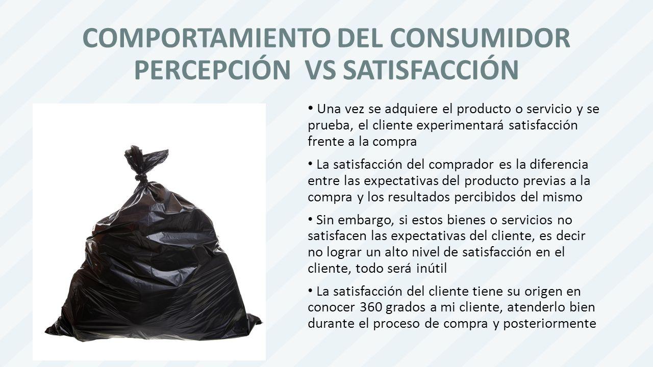 COMPORTAMIENTO DEL CONSUMIDOR PERCEPCIÓN VS SATISFACCIÓN
