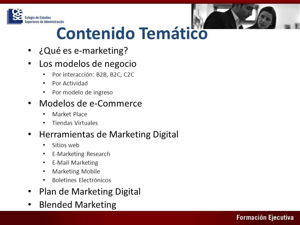 Contenido Temático ¿Qué es e-marketing Los modelos de negocio