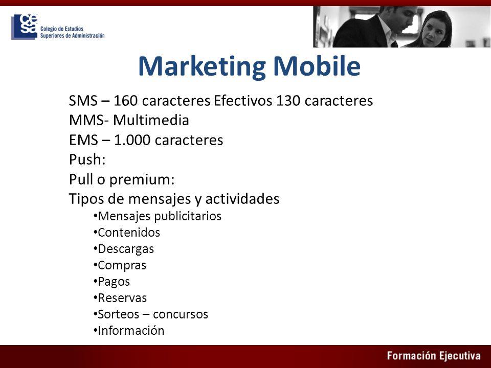 Marketing Mobile SMS – 160 caracteres Efectivos 130 caracteres