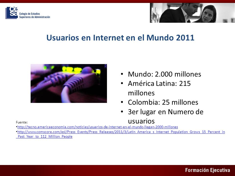Usuarios en Internet en el Mundo 2011
