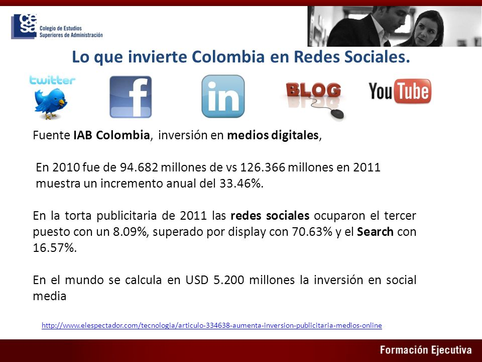 Lo que invierte Colombia en Redes Sociales.