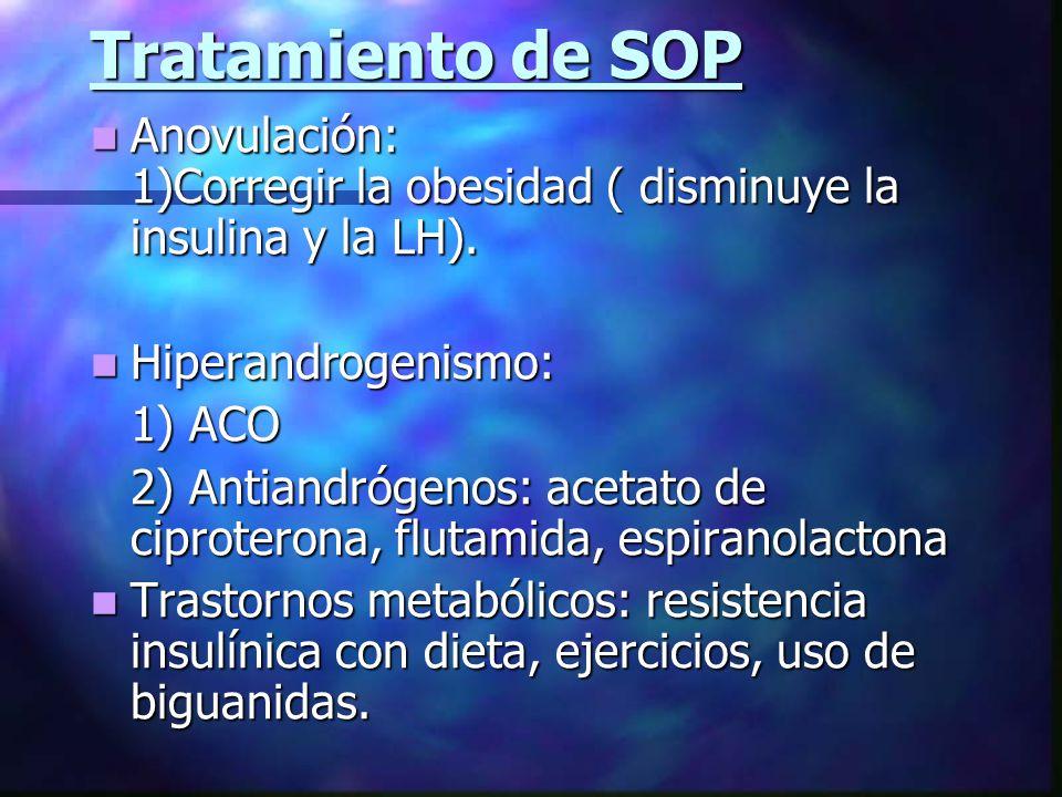 Tratamiento de SOP Anovulación: 1)Corregir la obesidad ( disminuye la insulina y la LH).
