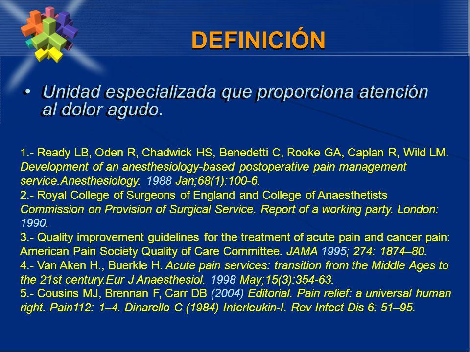 DEFINICIÓN Unidad especializada que proporciona atención al dolor agudo.