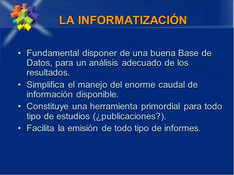 LA INFORMATIZACIÓN Fundamental disponer de una buena Base de Datos, para un análisis adecuado de los resultados.