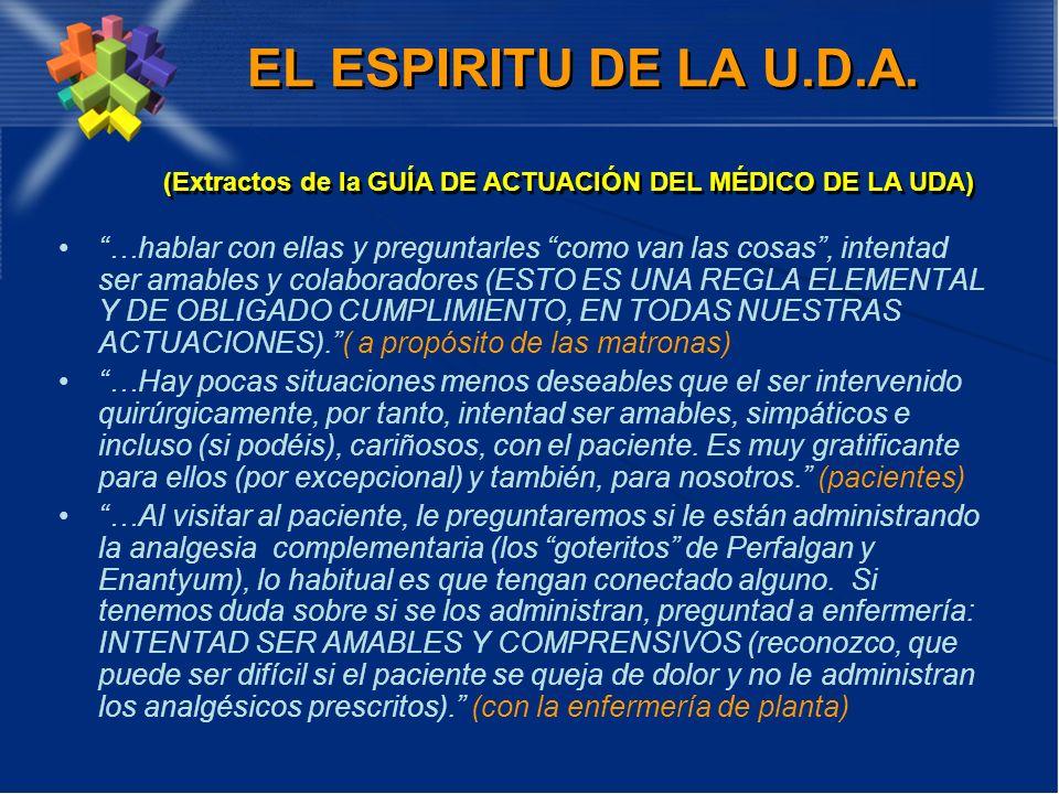 EL ESPIRITU DE LA U.D.A. (Extractos de la GUÍA DE ACTUACIÓN DEL MÉDICO DE LA UDA)