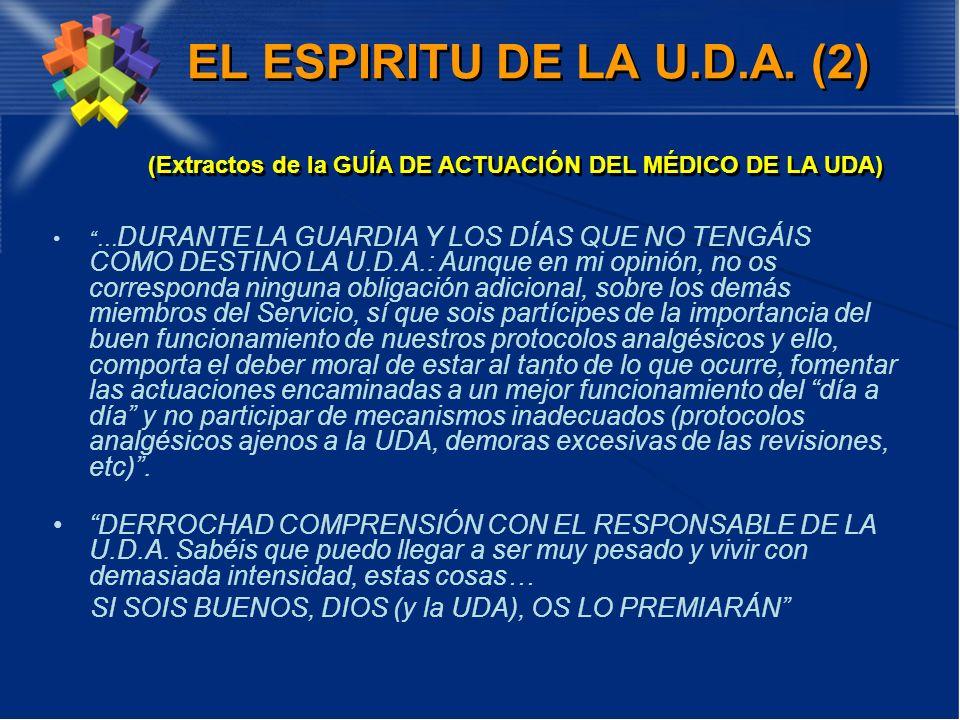 EL ESPIRITU DE LA U.D.A. (2) (Extractos de la GUÍA DE ACTUACIÓN DEL MÉDICO DE LA UDA)