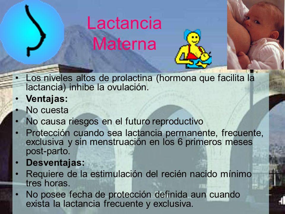 Lactancia Materna Los niveles altos de prolactina (hormona que facilita la lactancia) inhibe la ovulación.