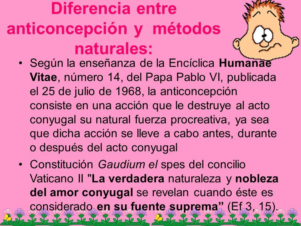 Diferencia entre anticoncepción y métodos naturales: