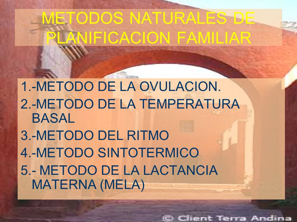 METODOS NATURALES DE PLANIFICACION FAMILIAR