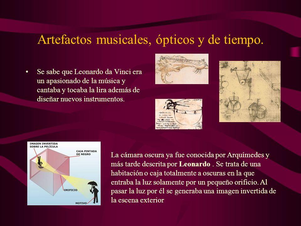 Artefactos musicales, ópticos y de tiempo.