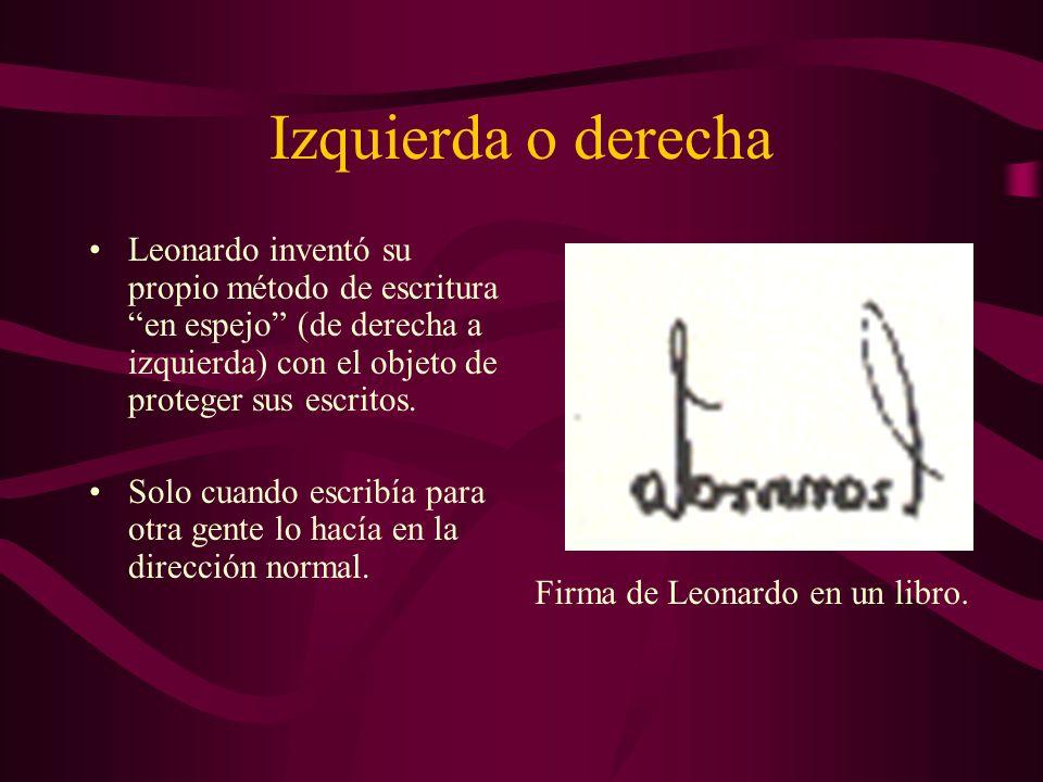 Izquierda o derecha Leonardo inventó su propio método de escritura en espejo (de derecha a izquierda) con el objeto de proteger sus escritos.