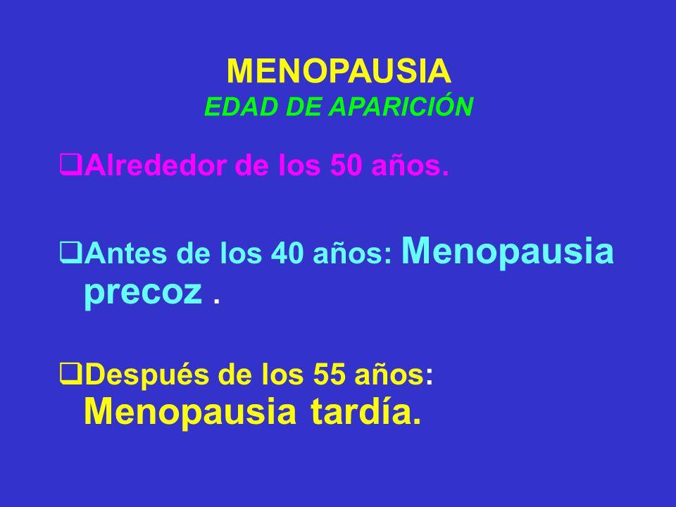 MENOPAUSIA Alrededor de los 50 años.
