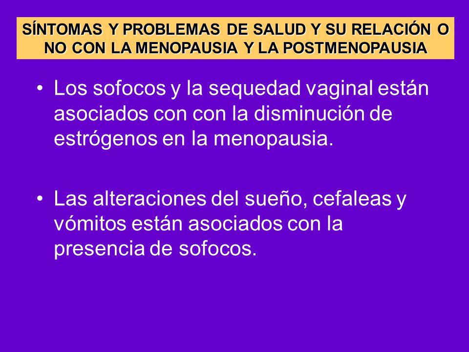 SÍNTOMAS Y PROBLEMAS DE SALUD Y SU RELACIÓN O NO CON LA MENOPAUSIA Y LA POSTMENOPAUSIA
