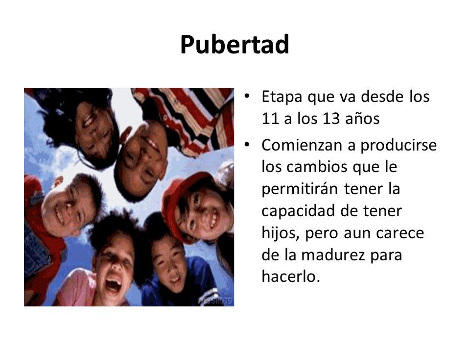 Pubertad Etapa que va desde los 11 a los 13 años