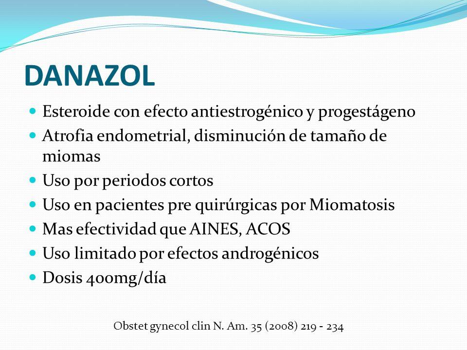 DANAZOL Esteroide con efecto antiestrogénico y progestágeno