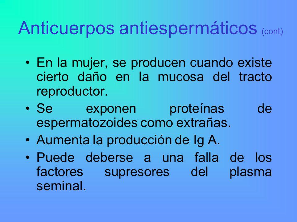 Anticuerpos antiespermáticos (cont)