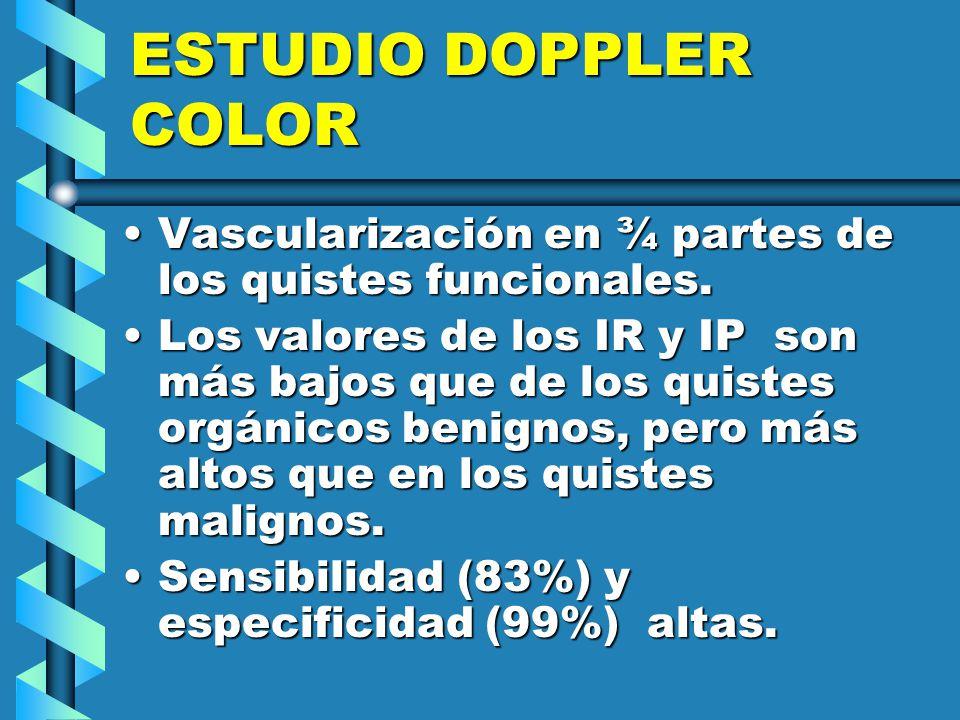 ESTUDIO DOPPLER COLOR Vascularización en ¾ partes de los quistes funcionales.