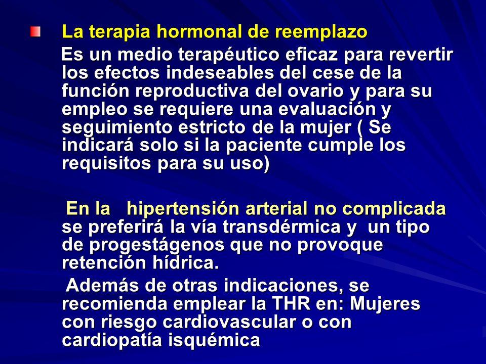 La terapia hormonal de reemplazo