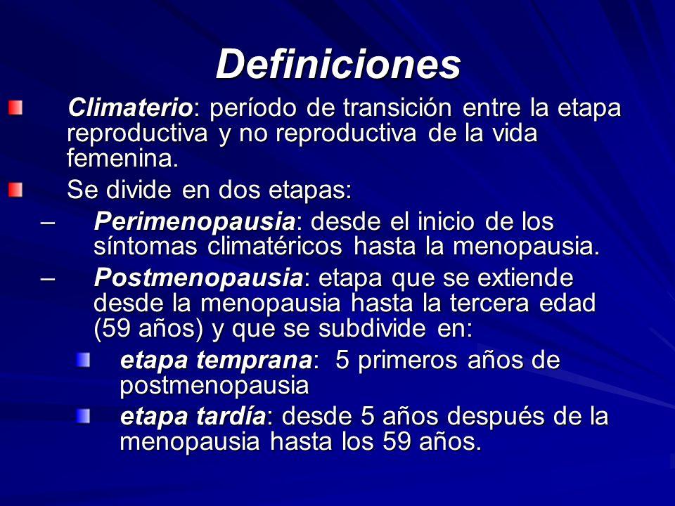 Definiciones Climaterio: período de transición entre la etapa reproductiva y no reproductiva de la vida femenina.