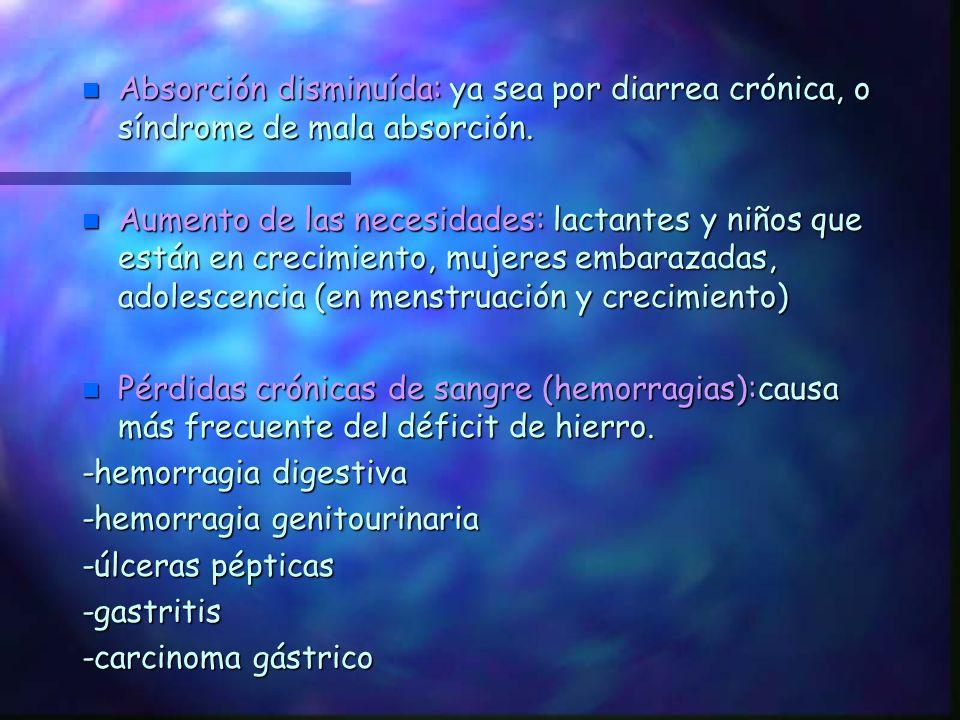Absorción disminuída: ya sea por diarrea crónica, o síndrome de mala absorción.