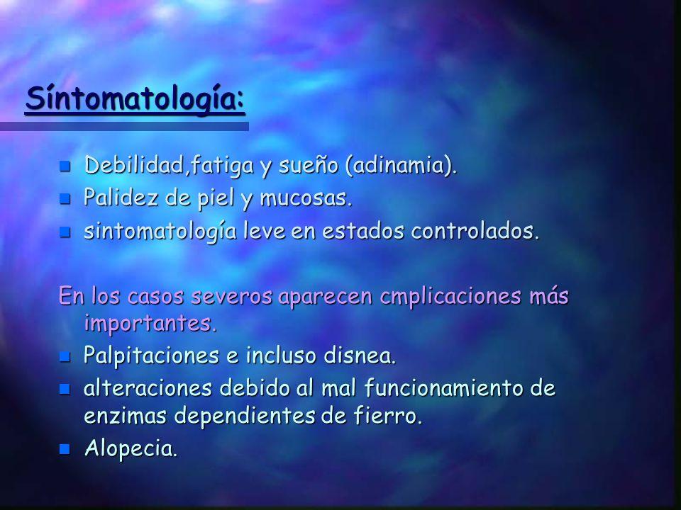 Síntomatología: Debilidad,fatiga y sueño (adinamia).