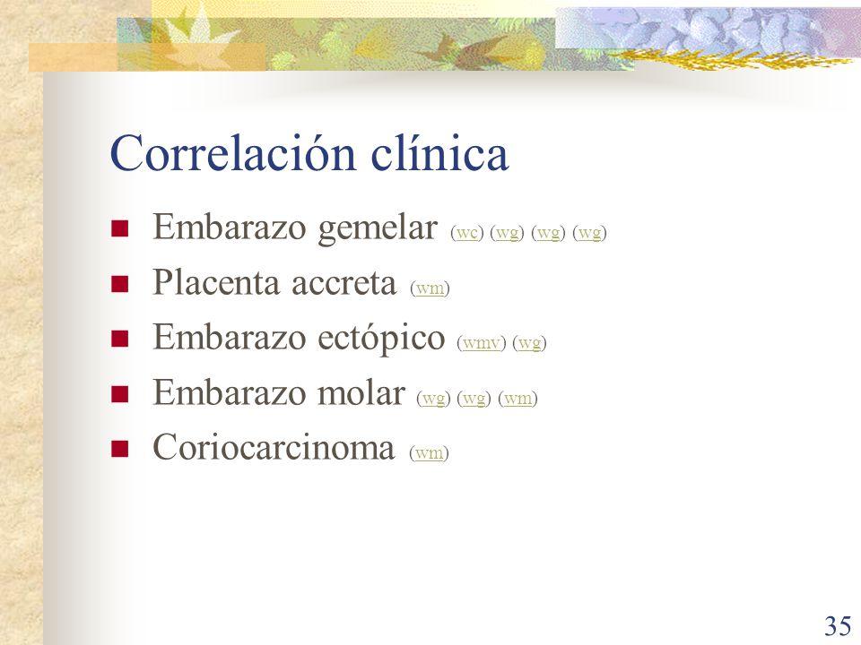Correlación clínica Embarazo gemelar (wc) (wg) (wg) (wg)