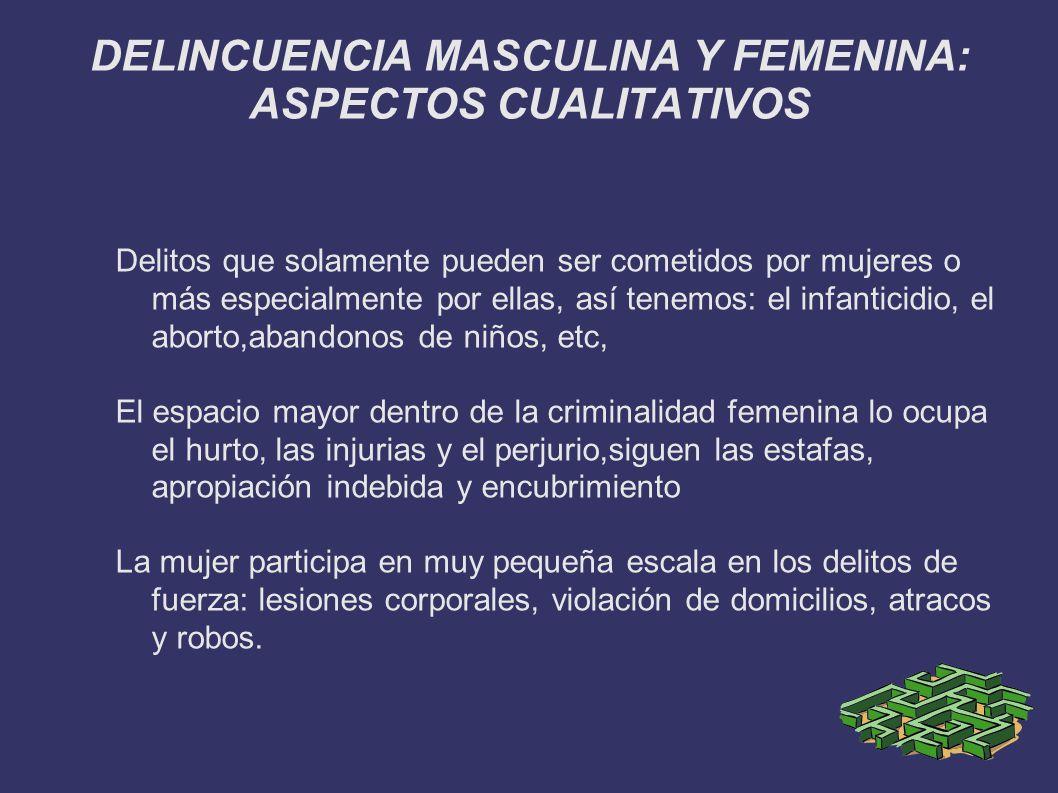 DELINCUENCIA MASCULINA Y FEMENINA: ASPECTOS CUALITATIVOS