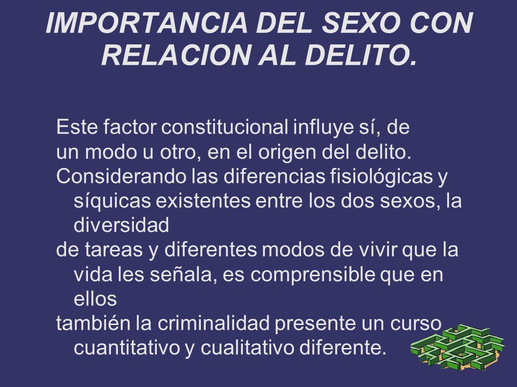 IMPORTANCIA DEL SEXO CON RELACION AL DELITO.