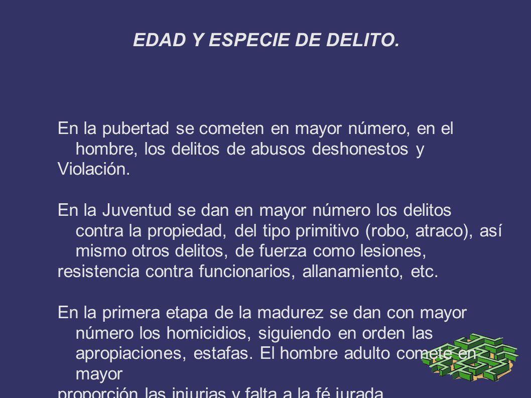 EDAD Y ESPECIE DE DELITO.