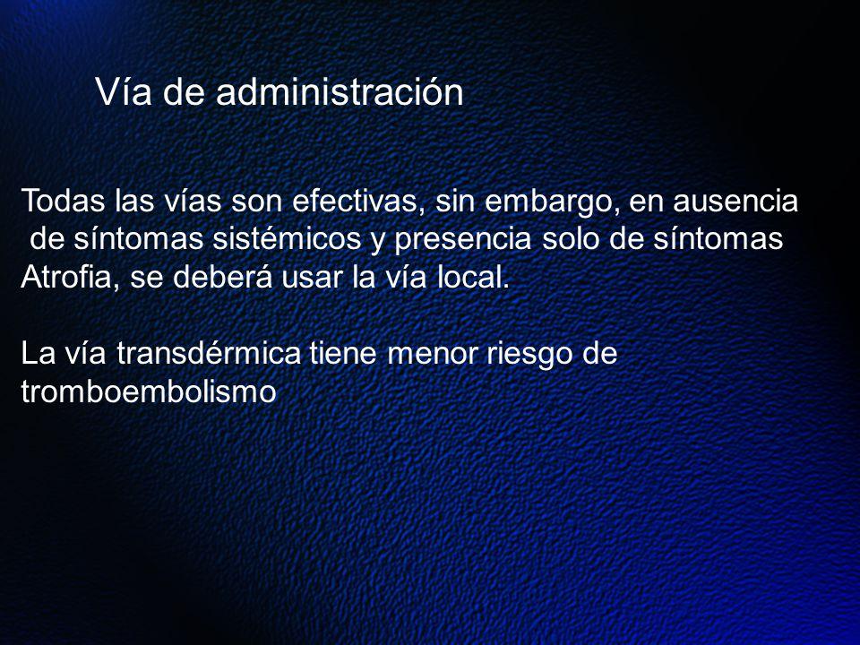 Vía de administración Todas las vías son efectivas, sin embargo, en ausencia. de síntomas sistémicos y presencia solo de síntomas.