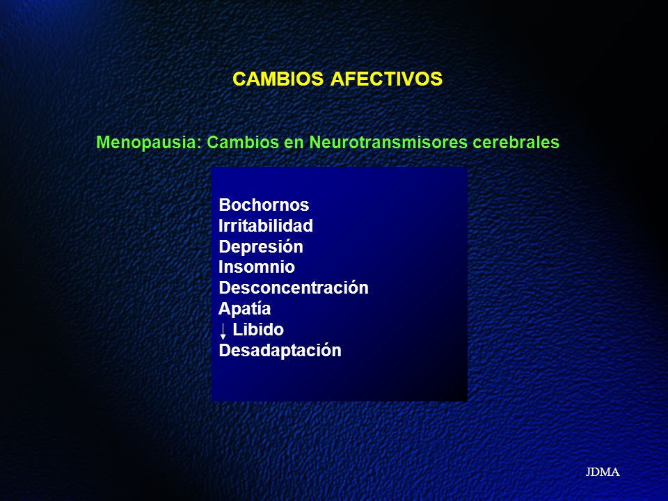 CAMBIOS AFECTIVOS Menopausia: Cambios en Neurotransmisores cerebrales