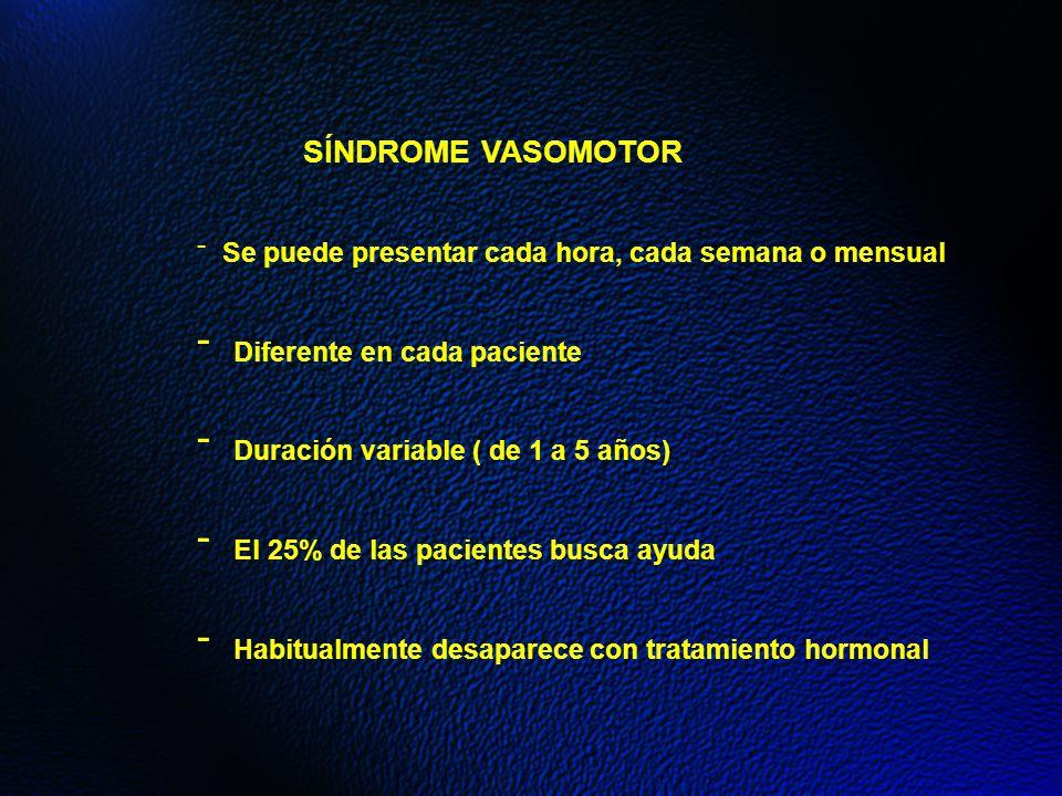 SÍNDROME VASOMOTOR Diferente en cada paciente
