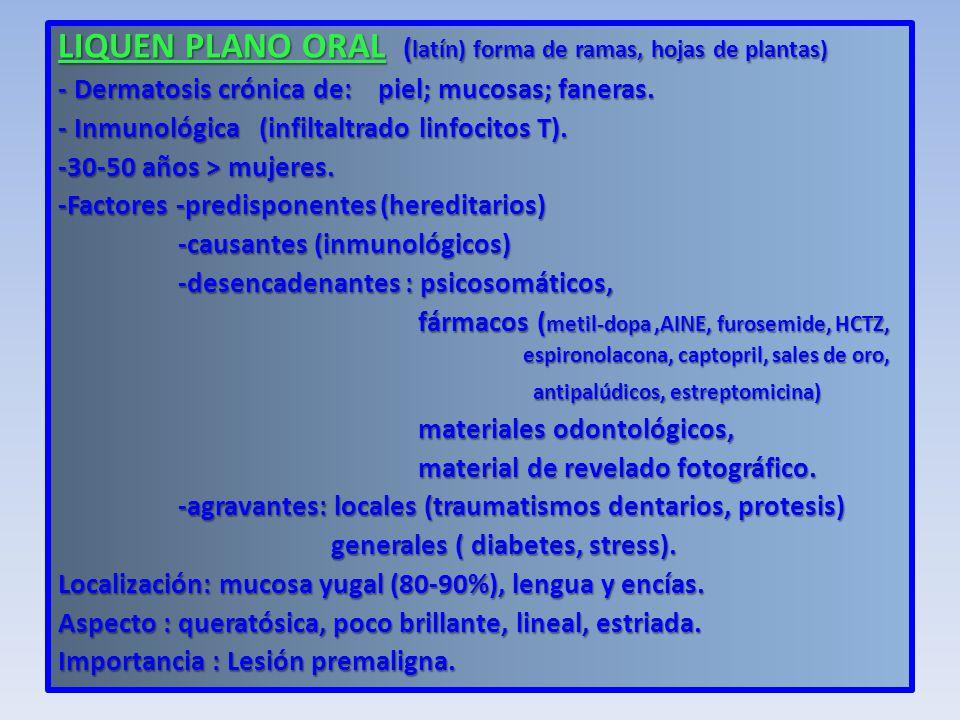 LIQUEN PLANO ORAL (latín) forma de ramas, hojas de plantas)