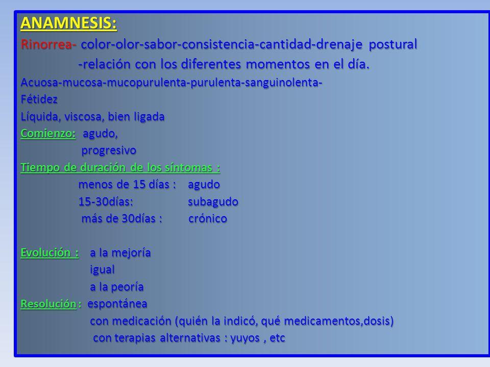 ANAMNESIS: Rinorrea- color-olor-sabor-consistencia-cantidad-drenaje postural. -relación con los diferentes momentos en el día.