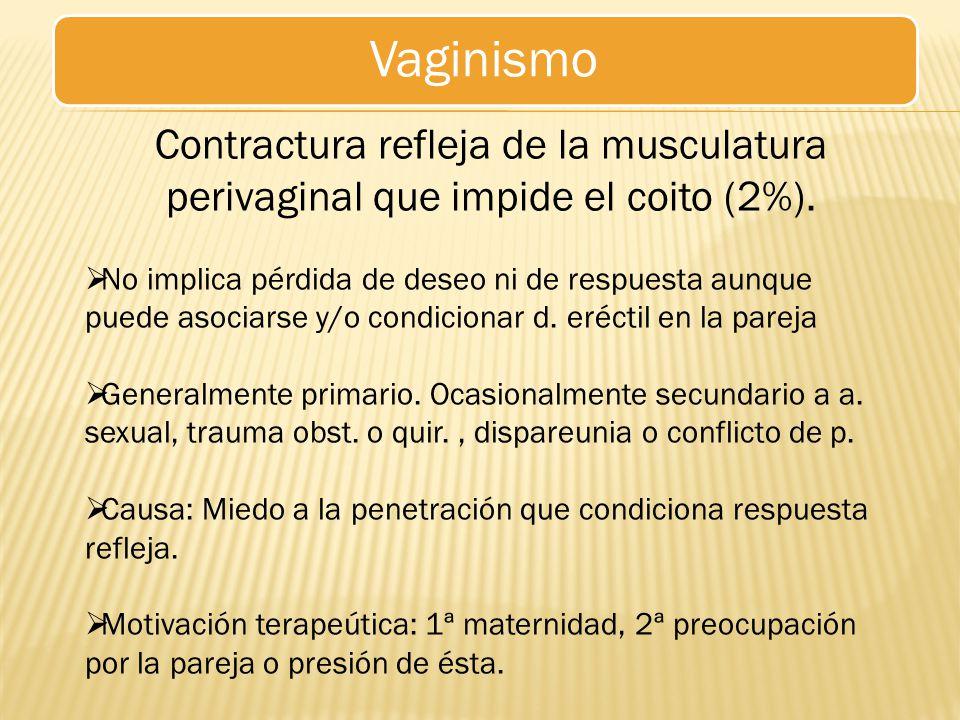 Vaginismo Contractura refleja de la musculatura perivaginal que impide el coito (2%).