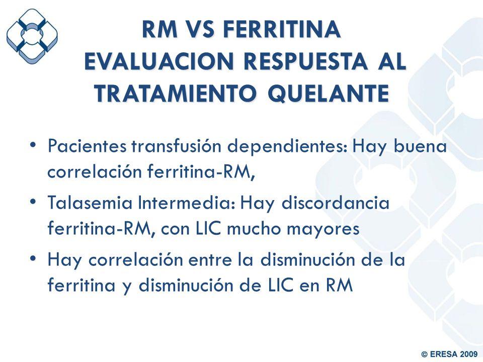 RM VS FERRITINA EVALUACION RESPUESTA AL TRATAMIENTO QUELANTE