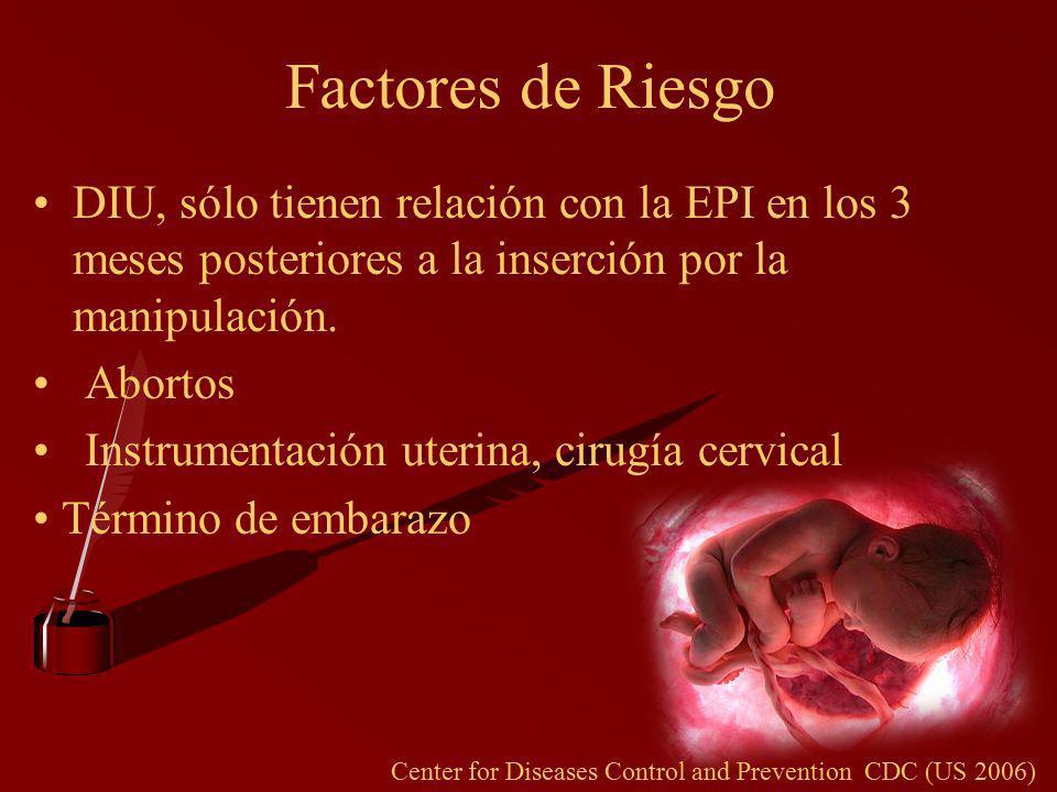Factores de Riesgo DIU, sólo tienen relación con la EPI en los 3 meses posteriores a la inserción por la manipulación.