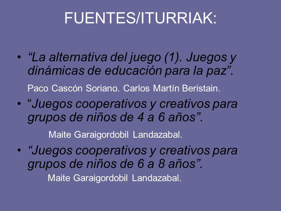 FUENTES/ITURRIAK: La alternativa del juego (1). Juegos y dinámicas de educación para la paz . Paco Cascón Soriano. Carlos Martín Beristain.