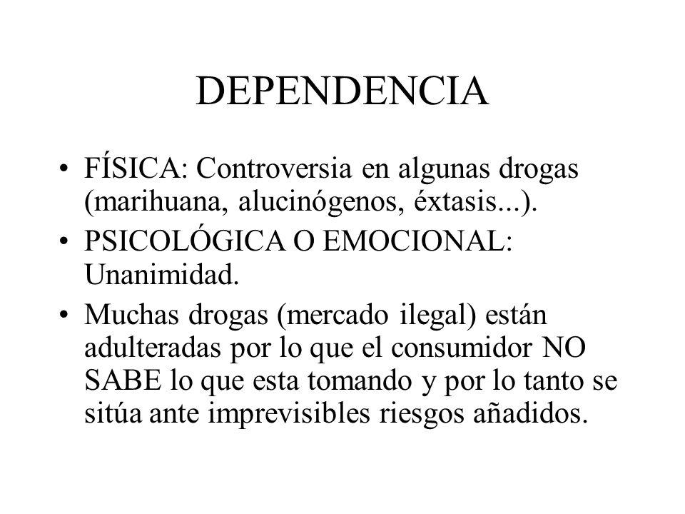 DEPENDENCIA FÍSICA: Controversia en algunas drogas (marihuana, alucinógenos, éxtasis...). PSICOLÓGICA O EMOCIONAL: Unanimidad.