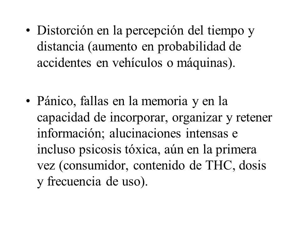Distorción en la percepción del tiempo y distancia (aumento en probabilidad de accidentes en vehículos o máquinas).