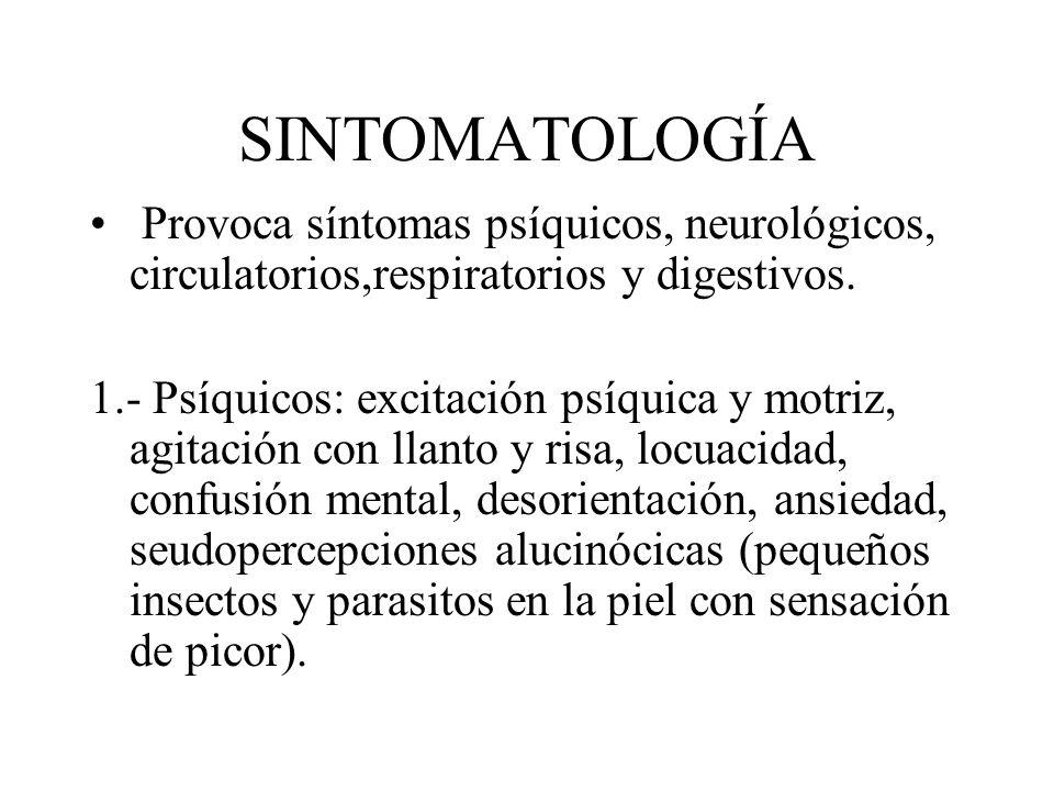 SINTOMATOLOGÍA Provoca síntomas psíquicos, neurológicos, circulatorios,respiratorios y digestivos.