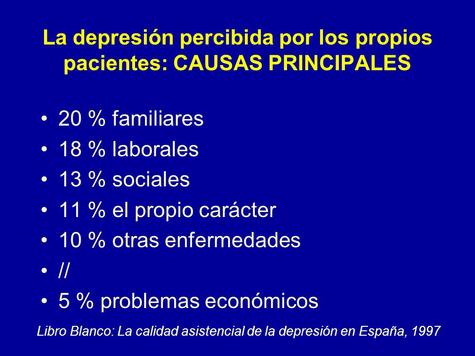 La depresión percibida por los propios pacientes: CAUSAS PRINCIPALES