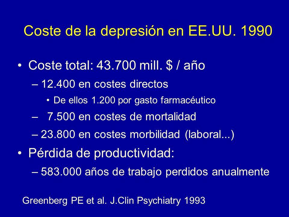 Coste de la depresión en EE.UU. 1990