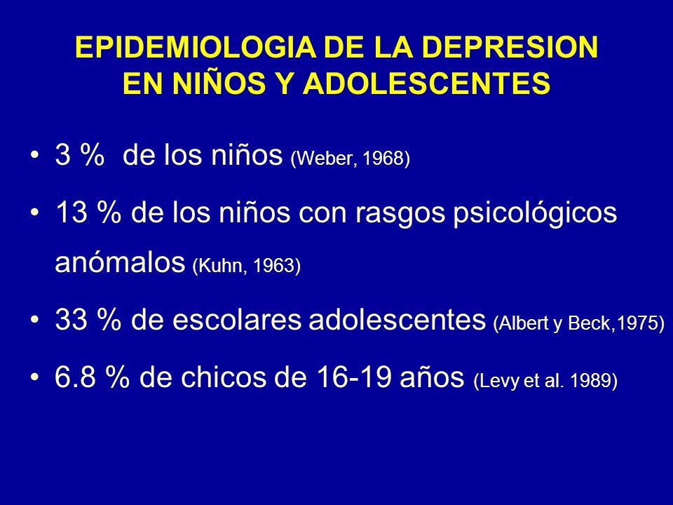EPIDEMIOLOGIA DE LA DEPRESION EN NIÑOS Y ADOLESCENTES