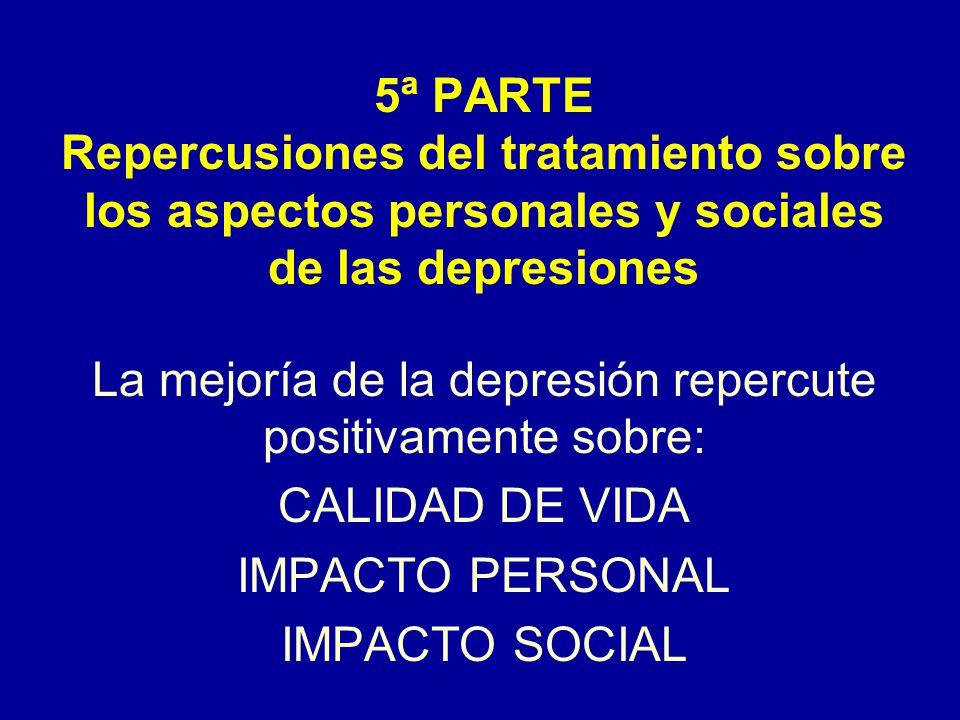 La mejoría de la depresión repercute positivamente sobre: