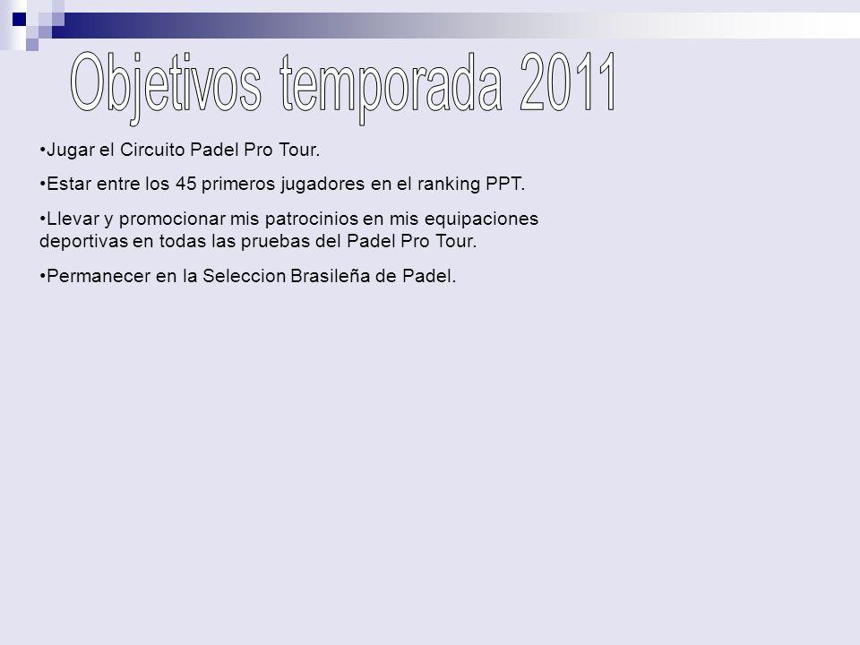 Objetivos temporada 2011 Jugar el Circuito Padel Pro Tour.