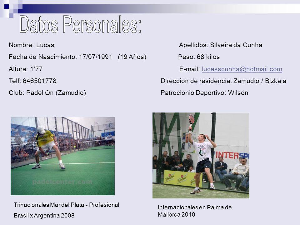 Datos Personales: Nombre: Lucas Apellidos: Silveira da Cunha