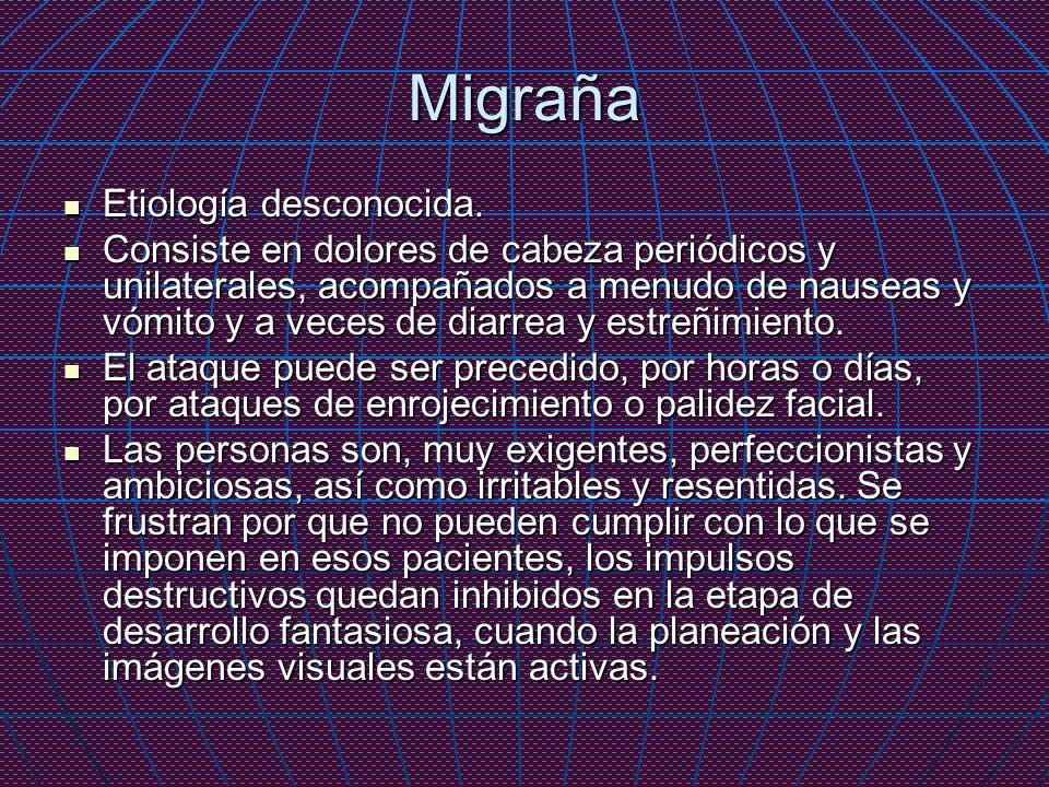 Migraña Etiología desconocida.