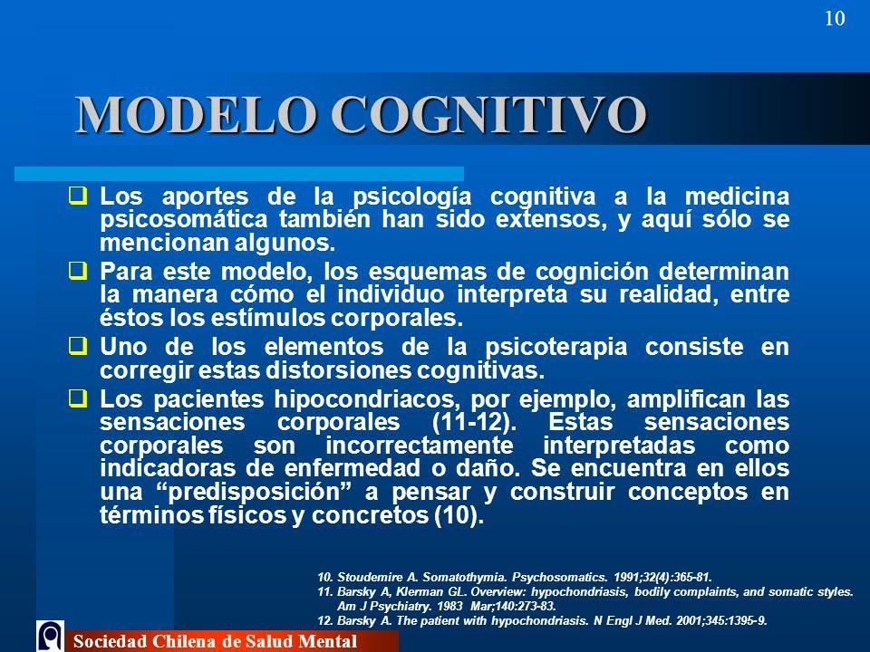 MODELO COGNITIVO Los aportes de la psicología cognitiva a la medicina psicosomática también han sido extensos, y aquí sólo se mencionan algunos.