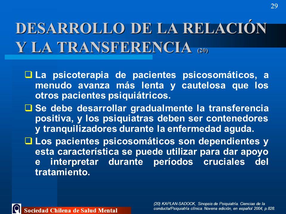 DESARROLLO DE LA RELACIÓN Y LA TRANSFERENCIA (20)
